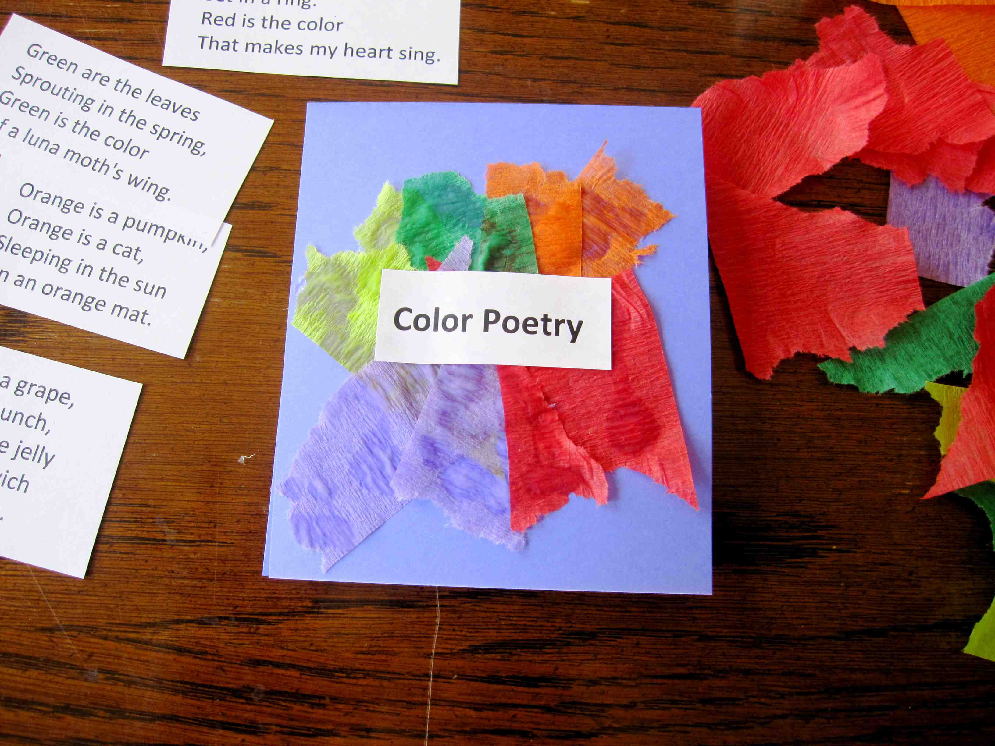 Tear fall colored construction paper into small pieces and glue - Tear Crepe Paper Into Small Sections Glue Crepe Paper Down As Desired And Glue Printout Over It