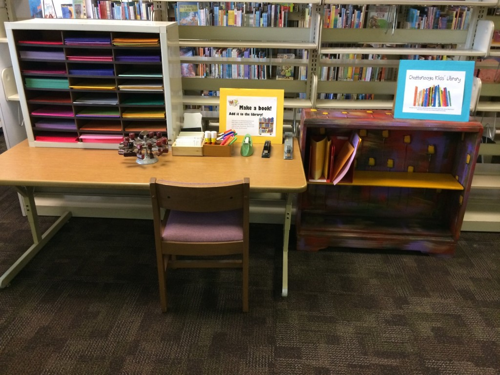 bookmaking station and kids' library