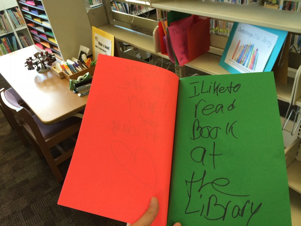 bookmaking station and kids' library provocation
