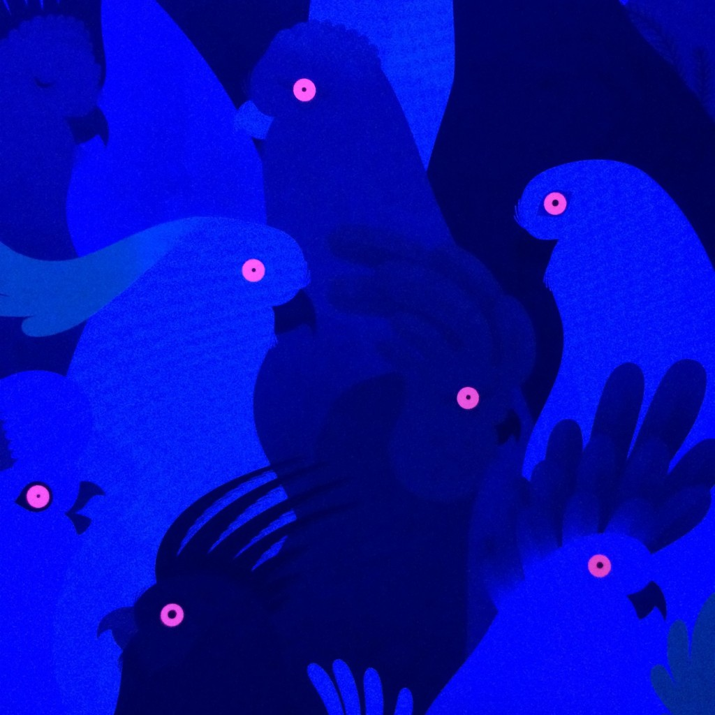 Beautiful Birds by J. Roussen and E. Walker under black light