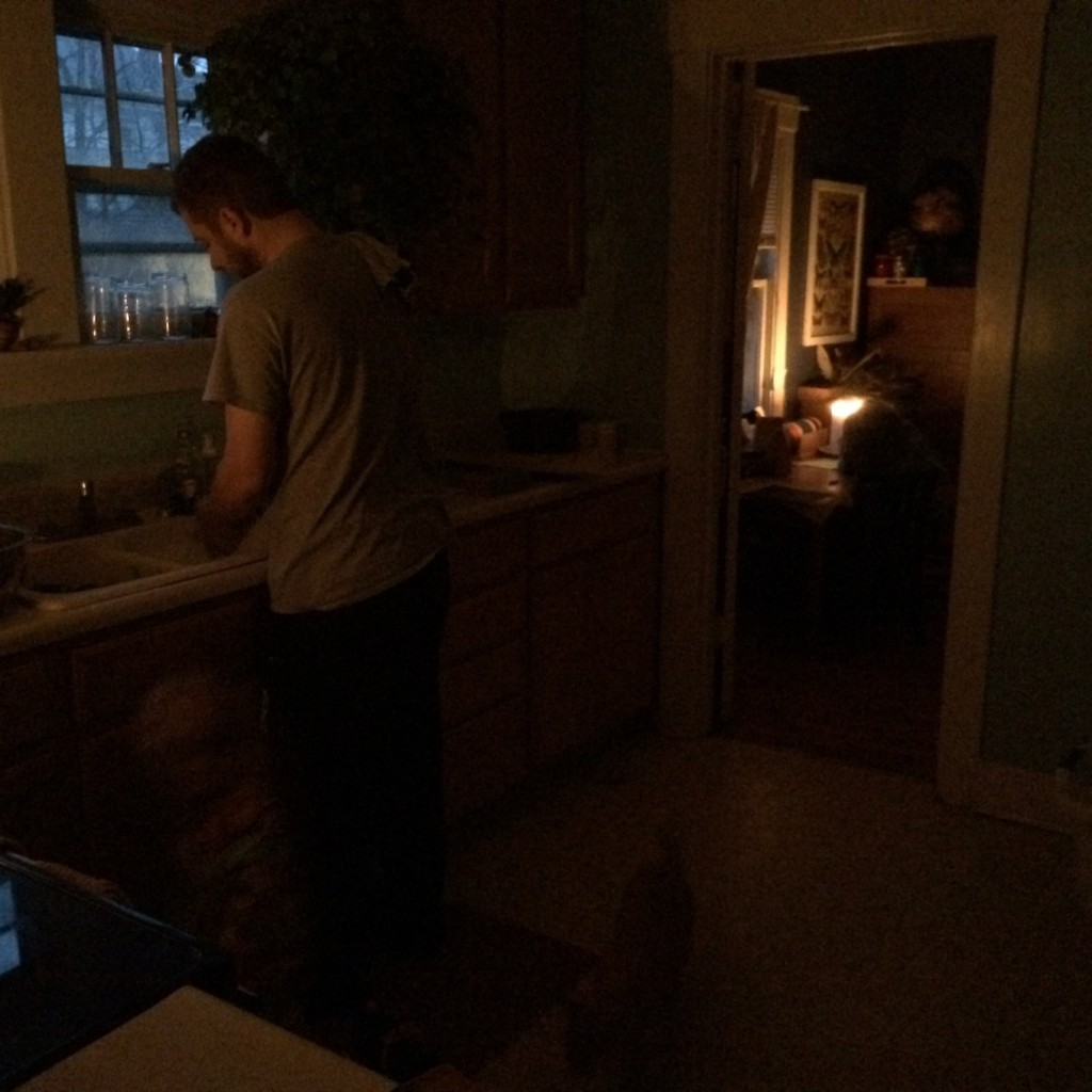 winter solstice morning - no electricity. Just candlight.