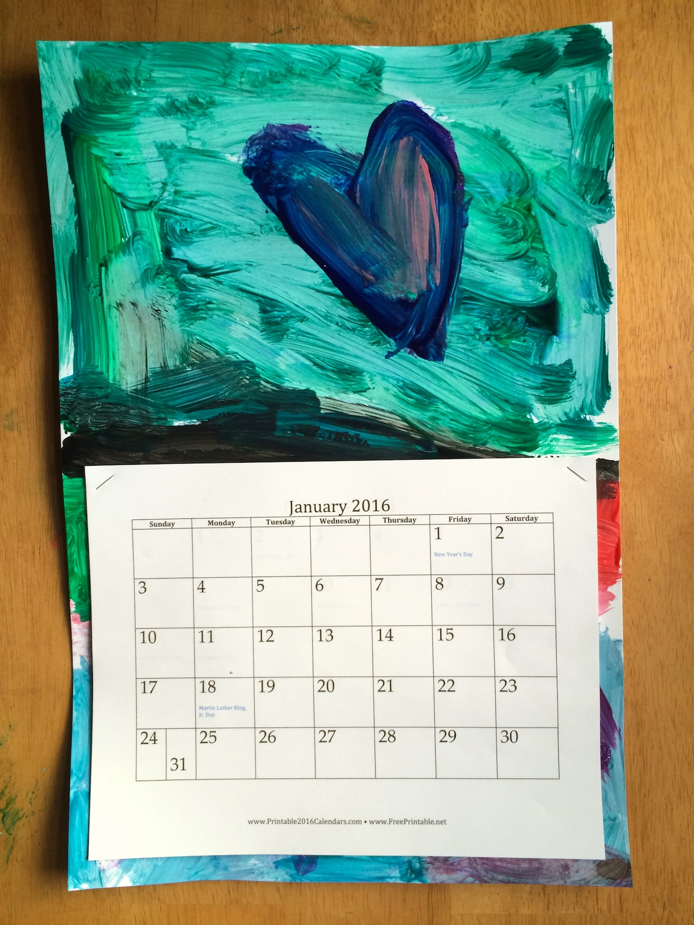 New Year Calendar Craft : Diy recycled kid s art calendar sturdy for common things