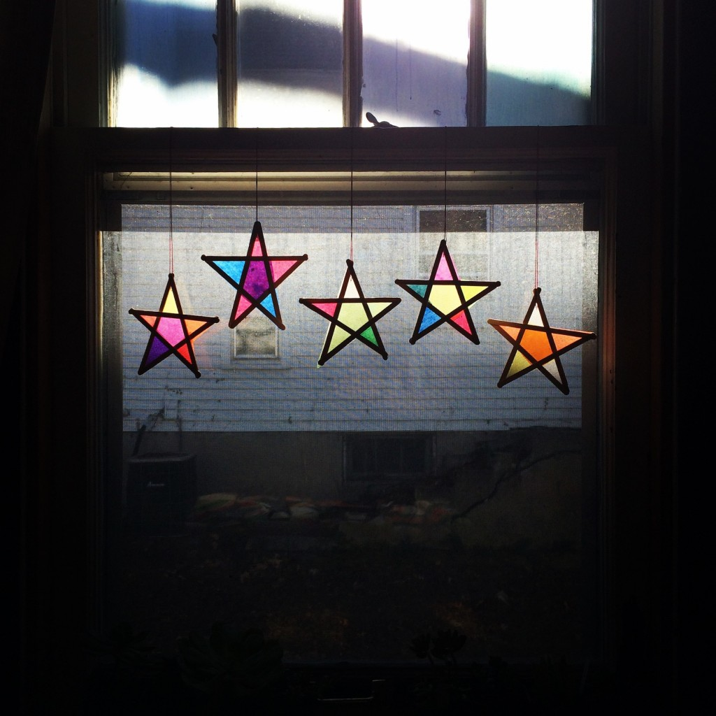wood and tissue paper stars - Sunday Greetings - SfCT