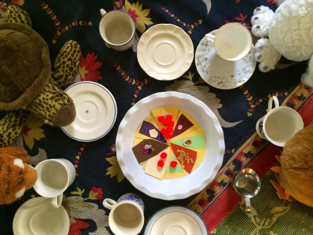 The Tea Party in the Woods Winter Story Activity - Pretend play and pie art project inspired by Akiko Miyakoshi's whimsical picture book The Tea Party in the Woods -