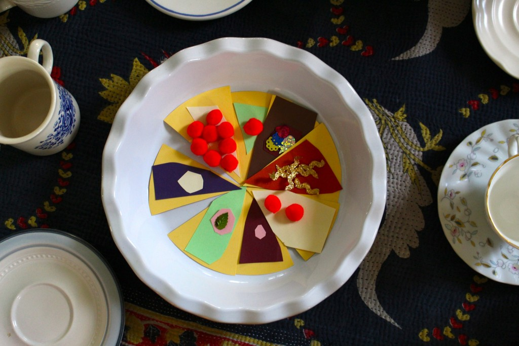 Pie Art Project + Pretend Tea Party Play inspirted by The Tea Party in the Woods by Akiko Miyakoshi
