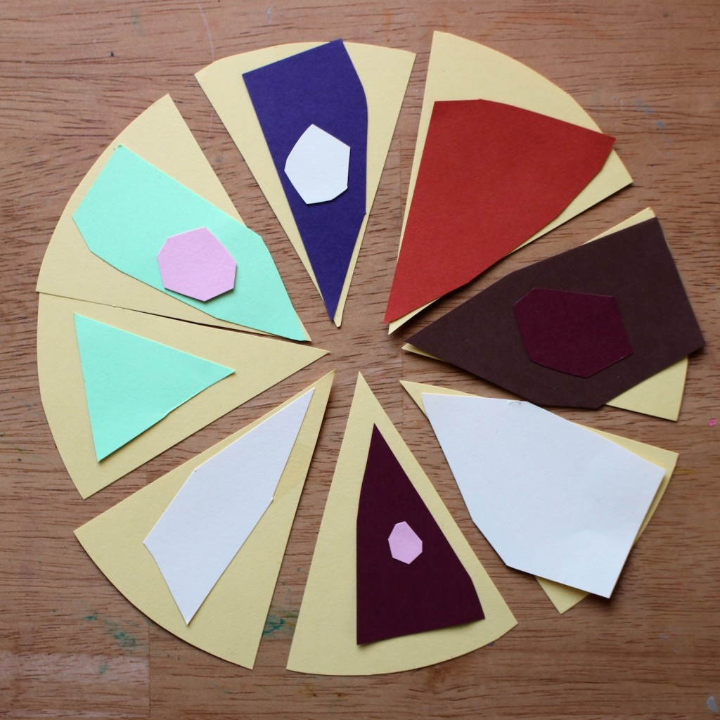 Pie collage - math meets art when making this paper pie for pretend play