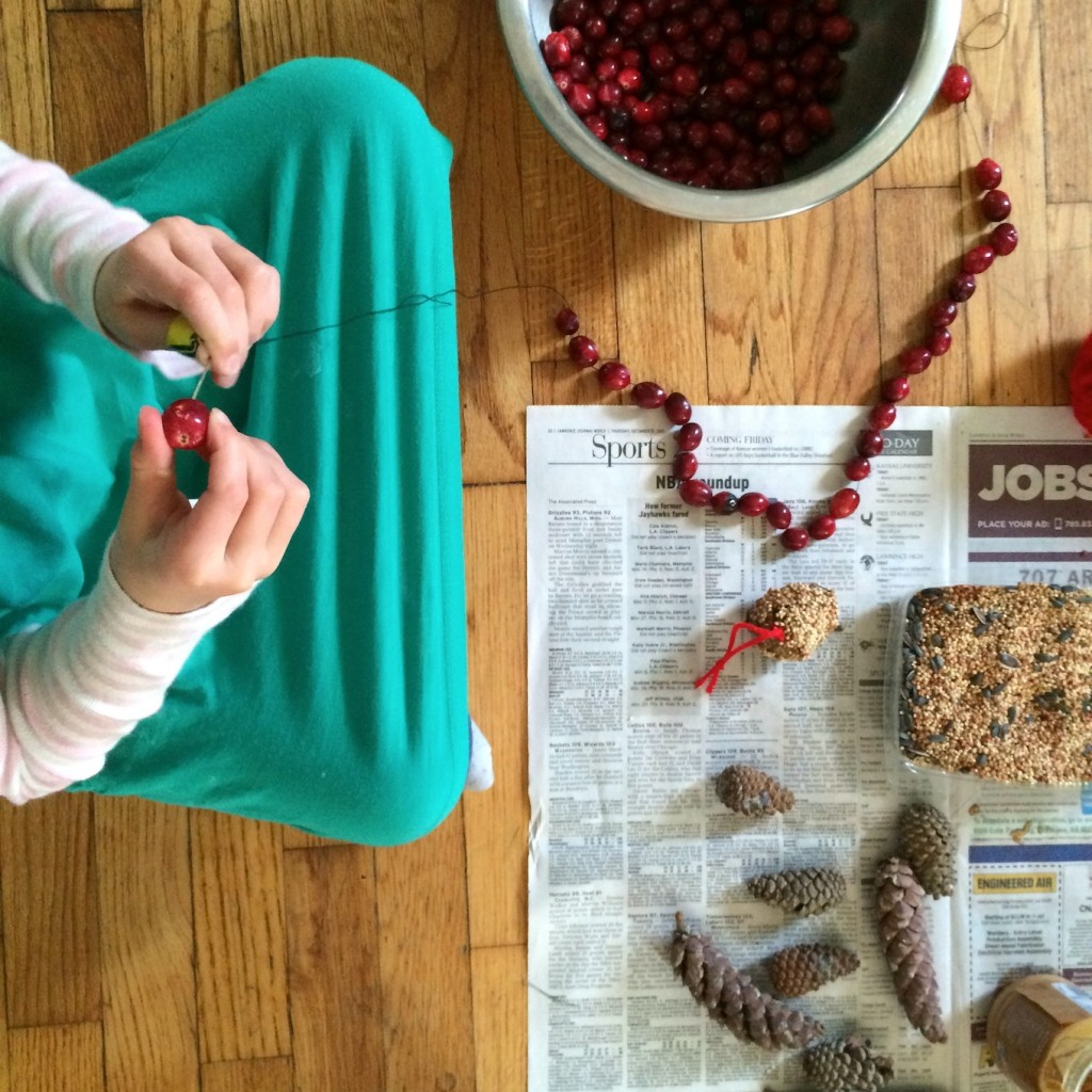 Stringing cranberries for the After-Christmas Tree