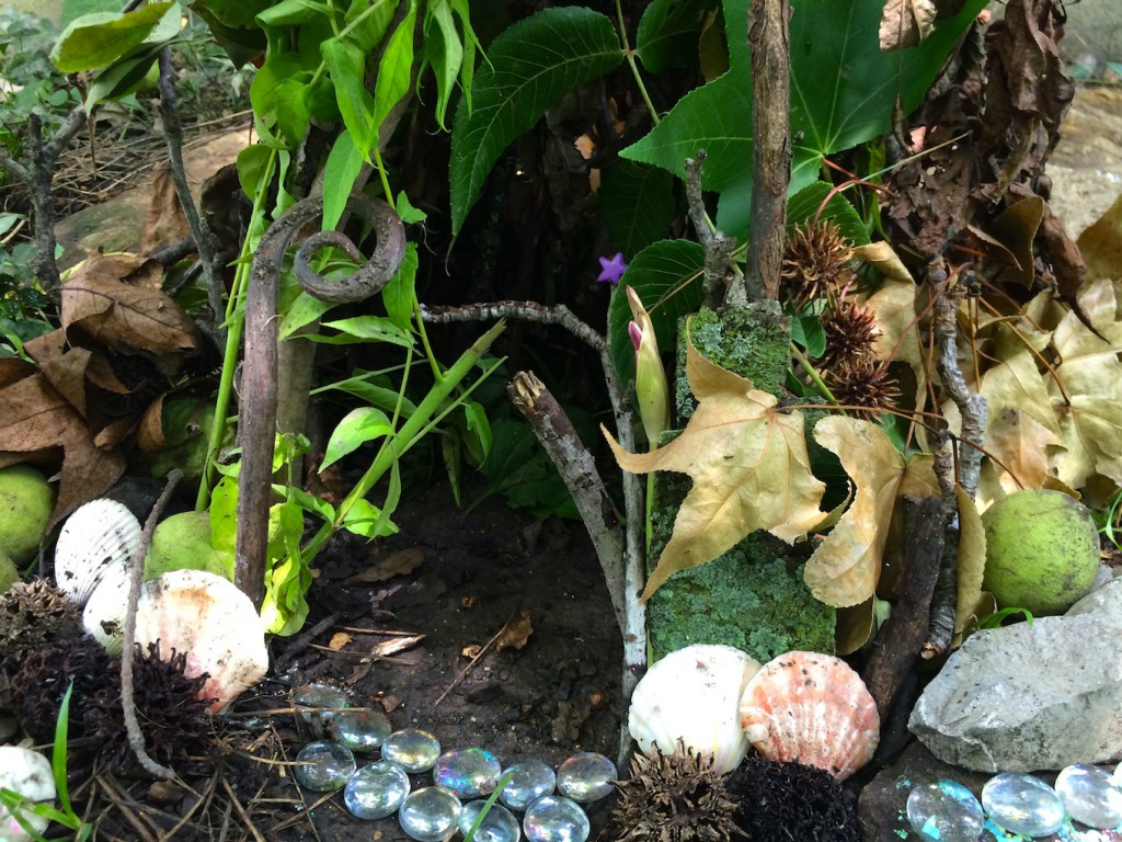 magical fairy house using found materials