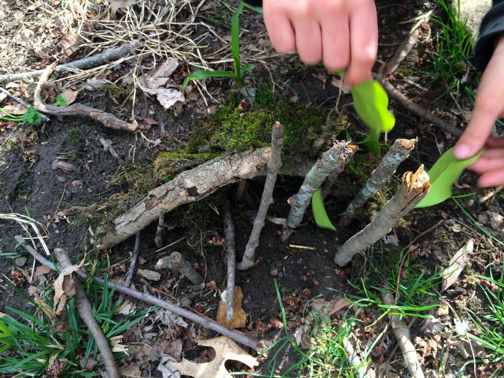 Building Fairy Houses with found items in nature