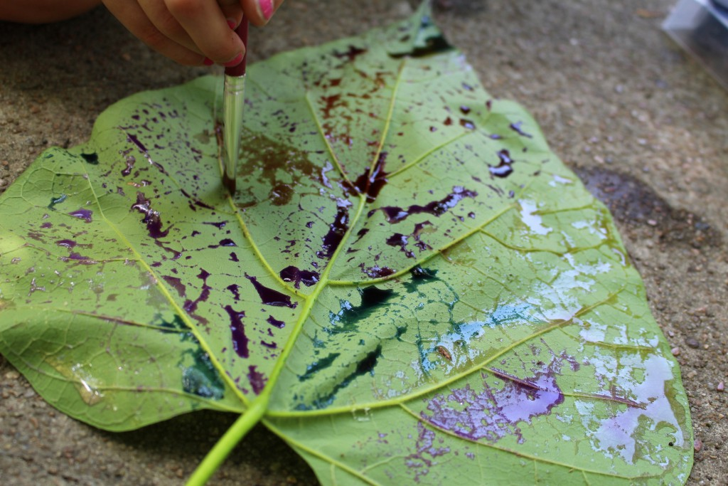 Leaf painting and printing nature activity for kids