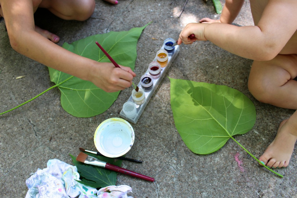 Leaf painting nature activity for kids